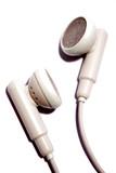 Earphones on white background poster