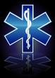 Symbole de l'ambulance sur fond noir (reflet métal)