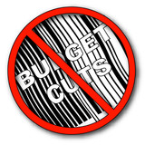 no more budget cuts with barcode  poster