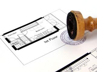 Disegno architettonico di una casa con timbro