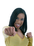 Young black woman throwing a punch poster