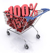 Shopping Cart (100% OFF). Concept of discount.