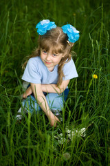 Girl and grass