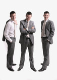 business team - three separate businessmen silhouettes  poster