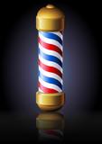 Enseigne du salon de coiffure rétro sur fond noir (reflet) poster