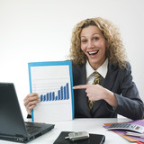 Woman showing good result poster