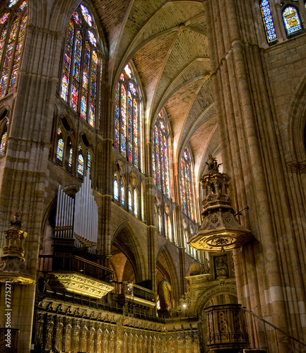 Choir in Santa Maria de Leon Cathedral. Leon, Spain