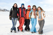 Group of sport teens different ethnicity winter outdors at mount