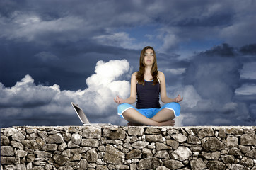 meditation woman with laptop