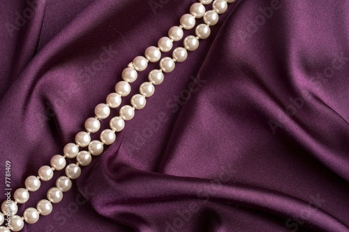pearls on purple satin