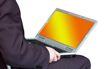 man working with portable computer as universal concept for many