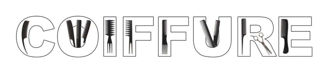 coiffure concept, combs used to write COIFFURE