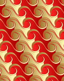 Seamless waves pattern in red-gold color gradients. poster