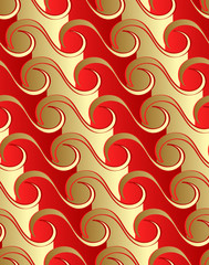 Seamless waves pattern in red-gold color gradients.
