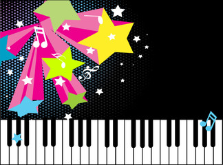 musical notes with colorful sd stars