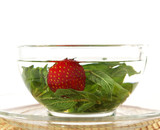 Herbal tea and strawberry poster