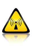Symbole de danger de radiation non ionisante (reflet métal) poster