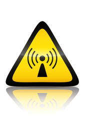Symbole de danger de radiation non ionisante (reflet métal)