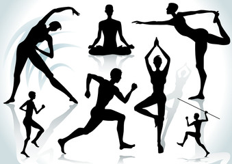Exercises silhouettes with shadow, vector illustration