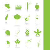 Green leaf icon set