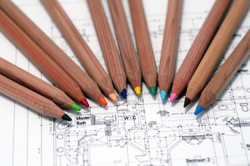 pencils on architects plan