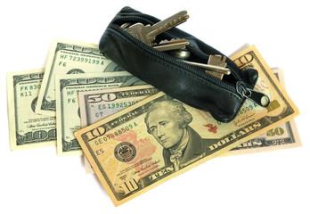 US dollars and keys