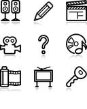 Black contour web icons, set 28 poster