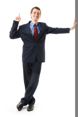 Businessman with finger Up. Sign attention