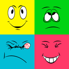 Cheerful smiley faces