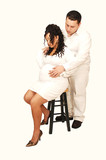 Pregnant woman with husband. poster