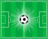 campo da calcio con impatto del pallone poster