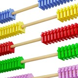 isolated abacus and house metaphor poster