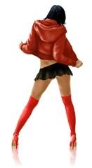 ragazza di schiene con calze rosse