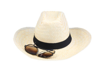 Straw hat and sunglasses.