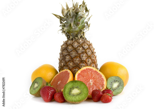 Mixed fruits on white background