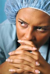 Sad and unhappy nurse
