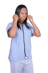 female doctor over white