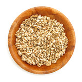 Wheat cereal flakes expanded grains in wooden dish poster