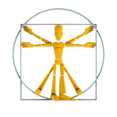 symbolic man inscribed into circle and square