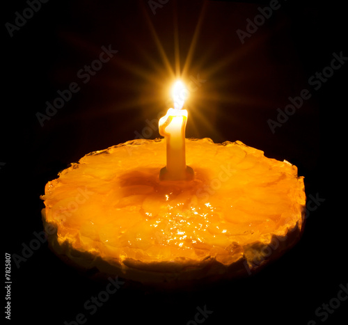 Birthday cake with burning candle