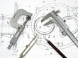 Leinwanddruck Bild - Engineering tools on technical drawing