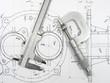 Leinwandbild Motiv Engineering tools on technical drawing