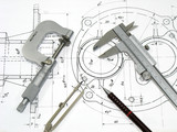 Engineering tools on technical drawing - Fine Art prints