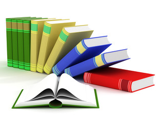 Open and falling books. 3D isolated image.