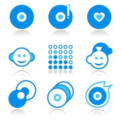 Two-colors blue vector music portal icon set