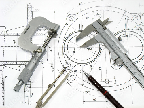 Leinwanddruck Bild Engineering tools on technical drawing