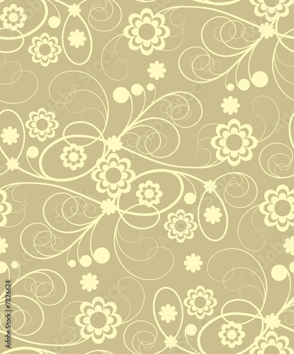 Seamless  with beige flowers