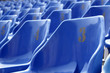 Blue seats in close-up view