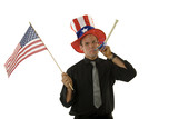 Young man wearing 4th of July hat and holding American flag poster