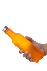 Hand holding cool drink bottle